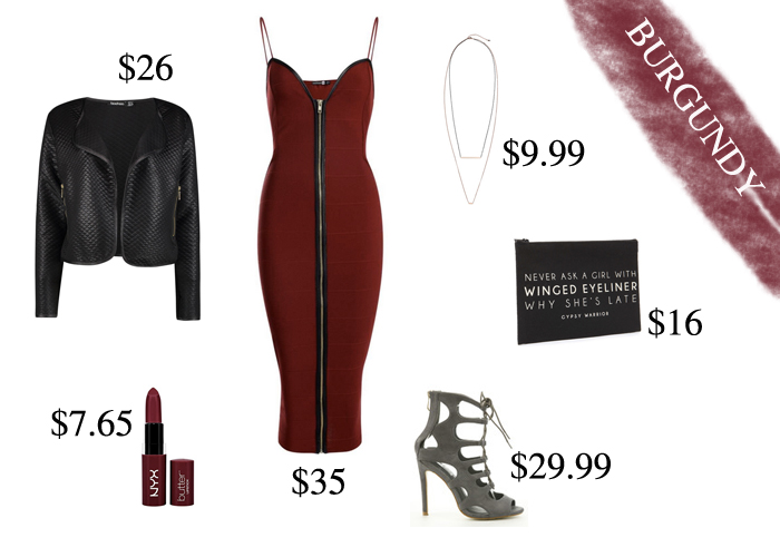 Sexy Burgundy Outfit under $125