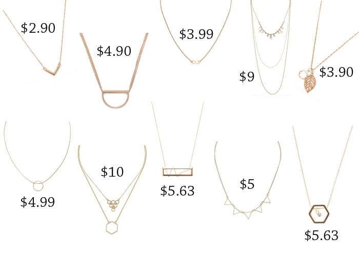 10 simple golden necklaces under $10
