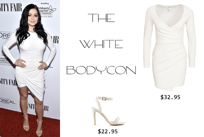 ariel winter's style white bodycon dress